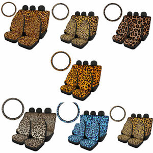 Leopard Grain Car Seat Covers Combo With Steering Wheel Cover 5pcs Full Set