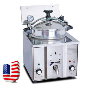 Commercial Electric Countertop Pressure Fryer 16l Stainless Chicken Fish 110v Us