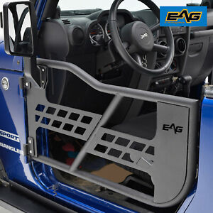 Eag Tubular Safari Door With Sideview Mirror Fit For 07 18 Jeep Jk Wrangler 2dr