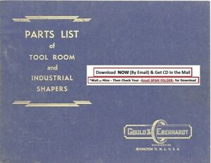 Gould Eberhardt G e Parts List Tool Room Industrial Shapers Manual 1943