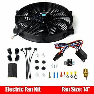 Universal 14 Electric Radiator Cooling Fan Black 12v Thermostat Relay Kit