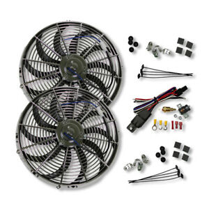 2x16 universal Chrome Electric Radiator Cooling Fans W thermostat Mounting Kit