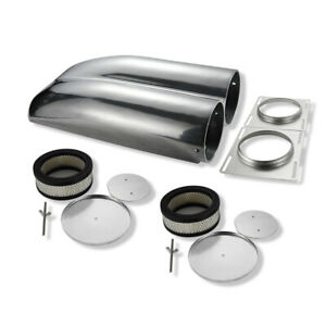 Polished Aluminum Shotgun Intake Air Hood Scoop Smooth Double Barrel Carb Setup
