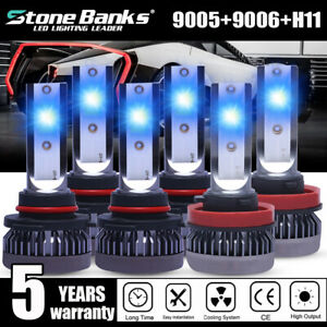 6x 9005 9006 H11 Combo Ice Blue 8000k Cob Led Headlight Kit Bulbs High Low Beam
