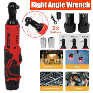 3 8 12v Electric Cordless Ratchet Right Angle Wrench Power Tool Set 2 Battery