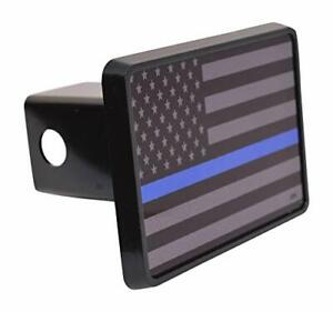 Subdued Thin Blue Line Flag Trailer Hitch Cover Plug Truck Accessory Plastic 1pk