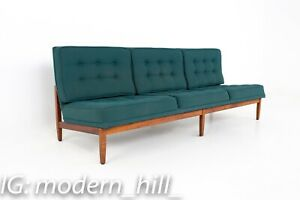 Florence Knoll Mid Century Parallel Bar Walnut Green Daybed Slipper Sofa Mcm