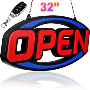 Very Large Led Open Sign For Restaurant Bar Shop Store Business Bright W Remote