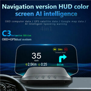 Car Gps Obd2 Hud Head Up Display W Navigation Speedometer Monitor Fhd Dashboard