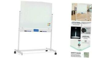 Mobile Glass Dry Erase Board Large Magnetic Glass Whiteboard 48 X 32 Inches
