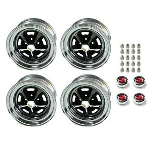 Magnum 500 Wheels Kit With Red Ford Crest Wheel Caps And Lug Nuts 15 X8