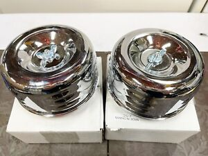 Lot Of 2 Chrome Louvered Air Cleaner Assembly 1 2 Bbl Barrel Carburetor Hot Rod