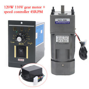 120w Ac110v Gear Motor Electric Motor Variable Speed Controller 1 30 45rpm New