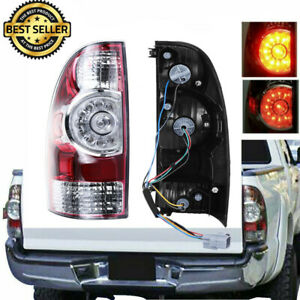 Fits 2005 2015 Toyota Tacoma Pickup Red Clear Led Tail Light Left Driver Side