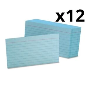 Ruled Index Cards 3 X 5 Blue 100 pack Pack Of 12