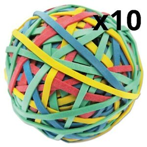 Rubber Band Ball 3 Diameter Size 32 Assorted Colors 260 pack Pack Of 10