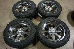 4 22 22x10 18 Moto Metal 962 Chrome Wheels Rims 35x12 50r22 Tires 8x180