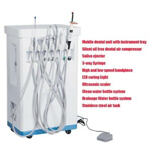 Portable Dental Delivery Treatment Cart Unit Equipment Mobile Compressor 4hole