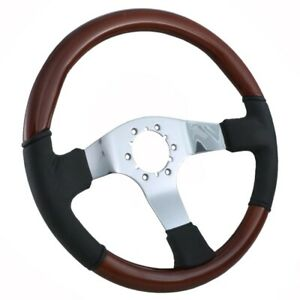 1967 1982 Corvette Steering Wheel Mahogany And Black Leather With 3 Chrome
