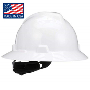 Msa 475369 V gard Slotted Full brim Hard Hat With 4 point Fas trac Iii White