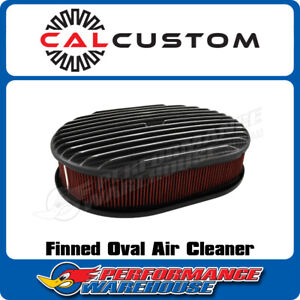 Oval Air Cleaner Full Finned Black Suit 5 1 8 Neck Holley Edelbrock Carb
