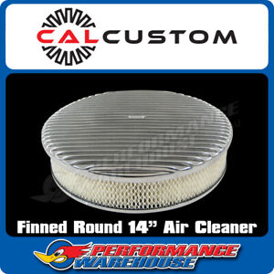 14 Round Air Cleaner Full Finned Polished Suit 5 1 8 Neck Holley Edelbrock