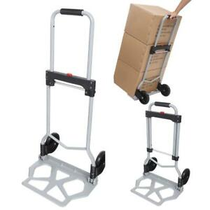 Portable Folding Hand Truck Dolly Luggage Carts Silver 150 Lbs Ev59 01