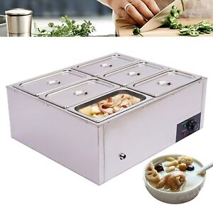Food Warmer Steam Table Commercial 6 pot Stainless Steel 110v Sliver Electric