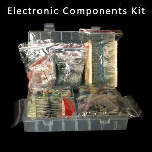 Electronic Components Kit Led Diodes Resistors Electrolytic Capacitors Set