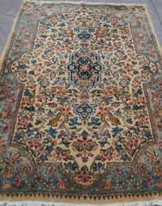 Antique Kermann Floral Hand Knotted Gold Wool Oriental Rug Hand Washed 3 X 5