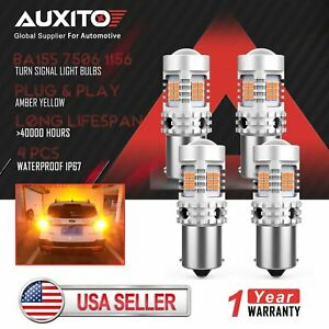 4x Auxito Ba15s 1156 7506 Canbus Amber Yellow 26 Smd Led Turn Signal Light Bulb