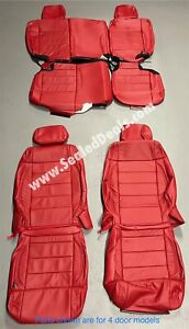 Jeep Wrangler 2007 2008 2009 2010 Custom Red Leather Seat Replacement Covers