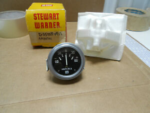 Nos 1960s 2 1 8 Stewart Warner Amperes Amp Gauge W Bracket Light Socket Rare