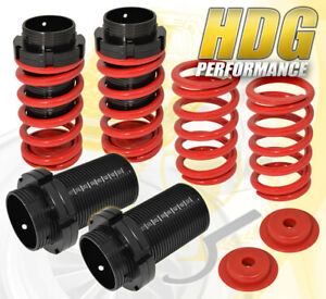 For 93 97 Corolla Adjust Lowering Spring Coil Over Sleeves Street Sport Set Red