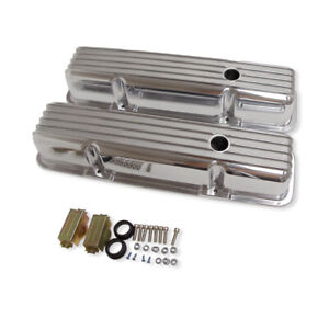 For 58 86 Sbc Chevy Tall Finned Valve Covers Polished Aluminum