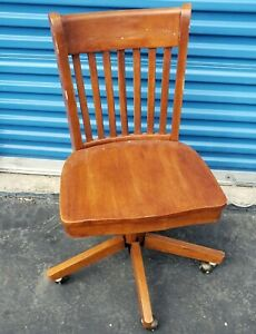 Bankers Wood Swivel Desk Chair Office Industrial Wooden Rolling Chair