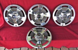 Used Original 1966 Corvette Hub Caps With Spinners Set Of 4