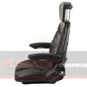 Black Vinyl Seat For Tractor Riding Mower Skid Steer Loader Forklift Backhoe