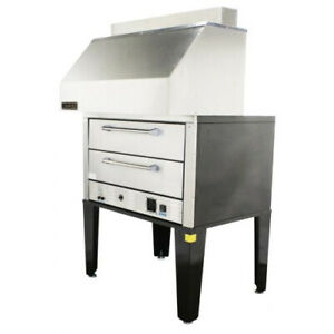 Naks Double Deck Pizza Oven W Ventless Hood 50 3ph Fire Suppression Included