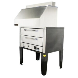 Naks Double Deck Pizza Oven W Ventless Hood 50 1ph Fire Suppression Ready