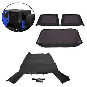 For 2007 2009 Jeep Wrangler Jk 4 door Replacement Soft Top Tinted Rear Windows