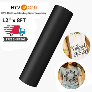 Black 12 x 8ft Heat Transfer Vinyl Htv Roll Iron On Heat Press Cricut Silhouette