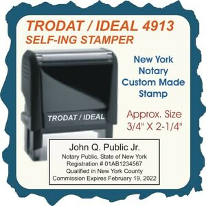 New York Notary Public Trodat Ideal Custom Self Inking Rubber Stamp