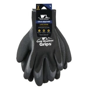 Wells Lamont Large Mens 2 Pairs Cold Weather Latex Grip Winter Work Gloves