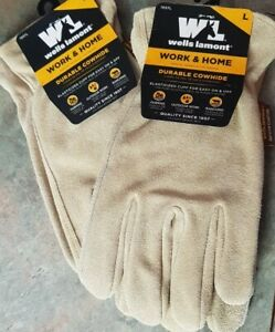 new 2 Pair Wells Lamont Work Home Durable Cowhide Gloves 1057l Large