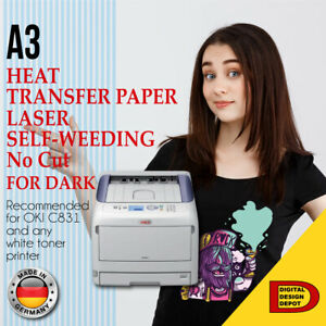 no cut A B Laser Dark Heat Transfer Paper For Dark A3 50 Sheets