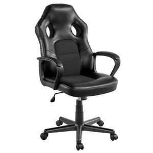 Gaming Chair Adjustable Swivel Artificial Leather Black