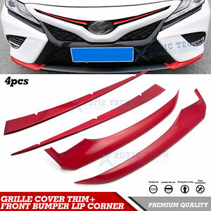 For Toyota Camry 2018 2019 Red Front Bumper Lip Corner Grill Grille Cover Trim