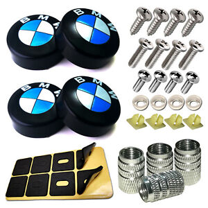 Stainless Steel License Plate Screws Black Caps For Bmw Car Tag Frame Mounting