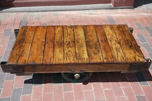 Restored Factory Cart Coffee Table Vintage Lineberry Industrial Railroad Iron